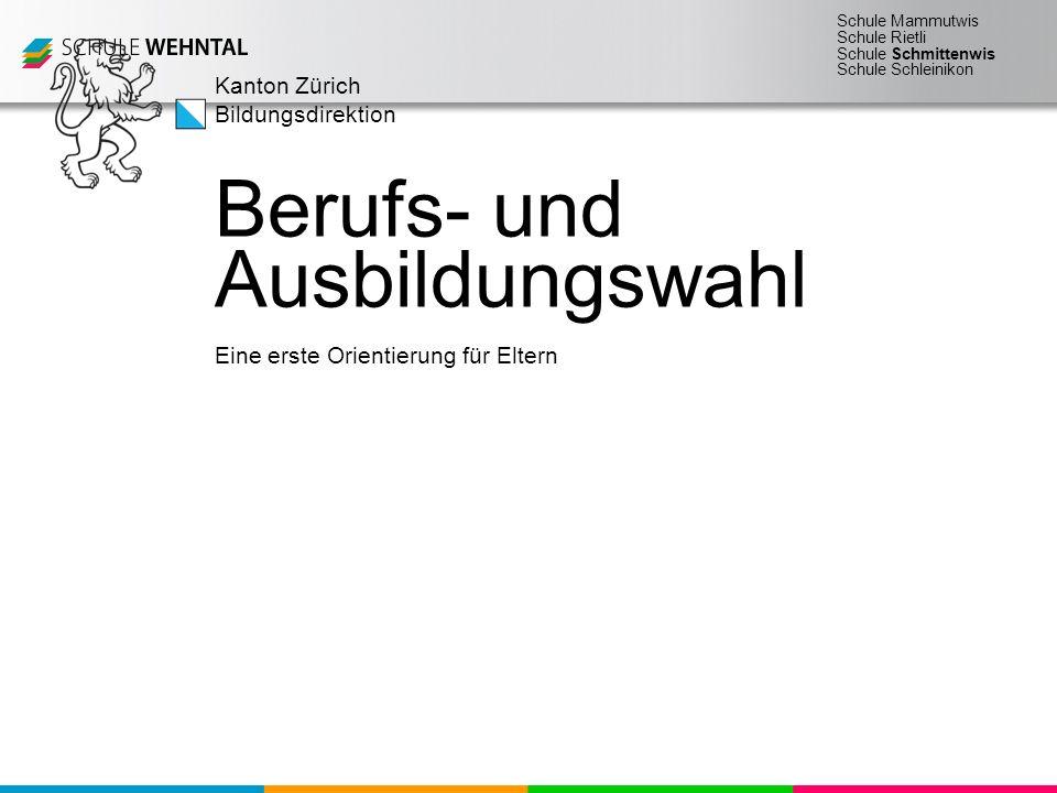 Schule Mammutwis Schule Rietli Schule Schmittenwis Schule Schleinikon Kanton Zürich Bildungsdirektion Eine erste Orientierung für Eltern Berufs- und Ausbildungswahl