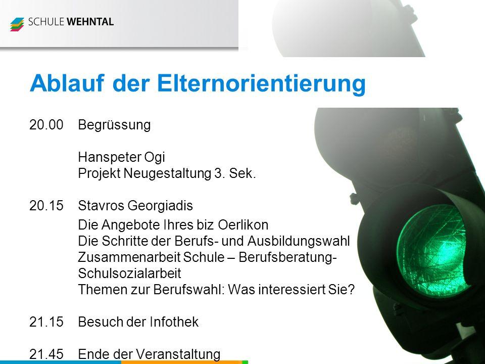 Schule Mammutwis Schule Rietli Schule Schmittenwis Schule Schleinikon 20.00 Begrüssung Hanspeter Ogi Projekt Neugestaltung 3.