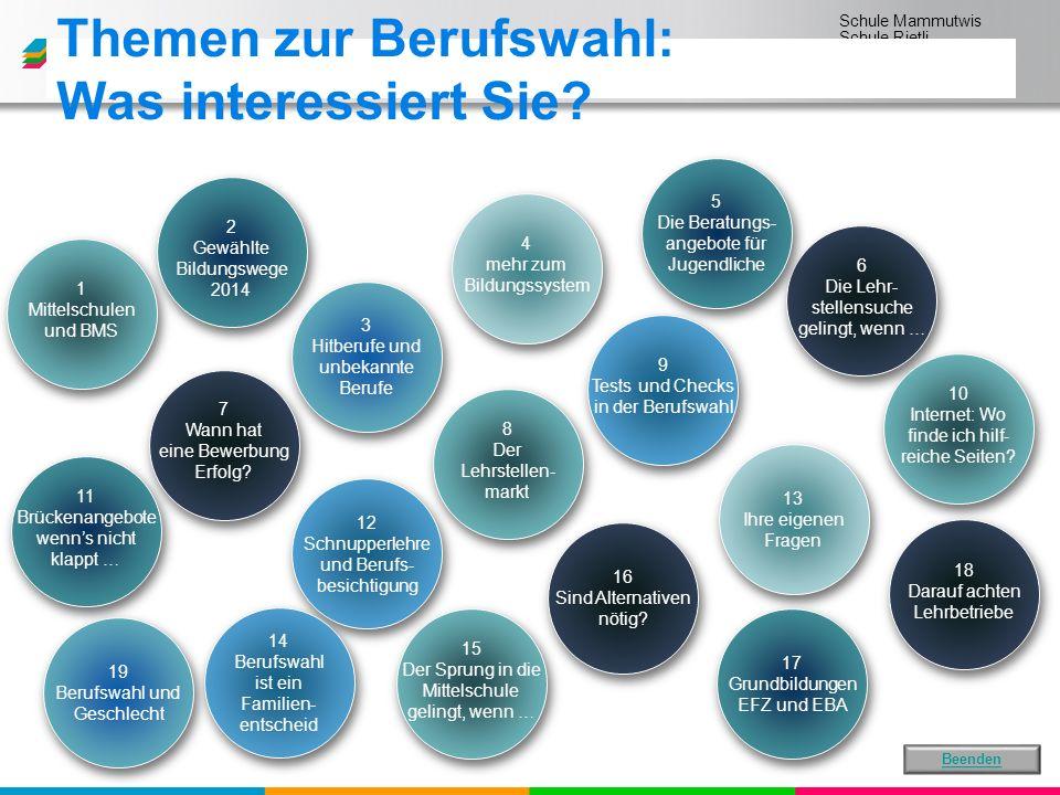 Schule Mammutwis Schule Rietli Schule Schmittenwis Schule Schleinikon 8 Der Lehrstellen- markt 6 Die Lehr- stellensuche gelingt, wenn … 10 Internet: Wo finde ich hilf- reiche Seiten.