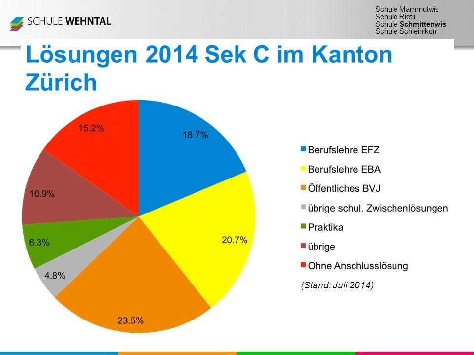 Schule Mammutwis Schule Rietli Schule Schmittenwis Schule Schleinikon (Stand: Juli 2014) Total: 605 Jugendliche Lösungen 2014 Sek C im Kanton Zürich