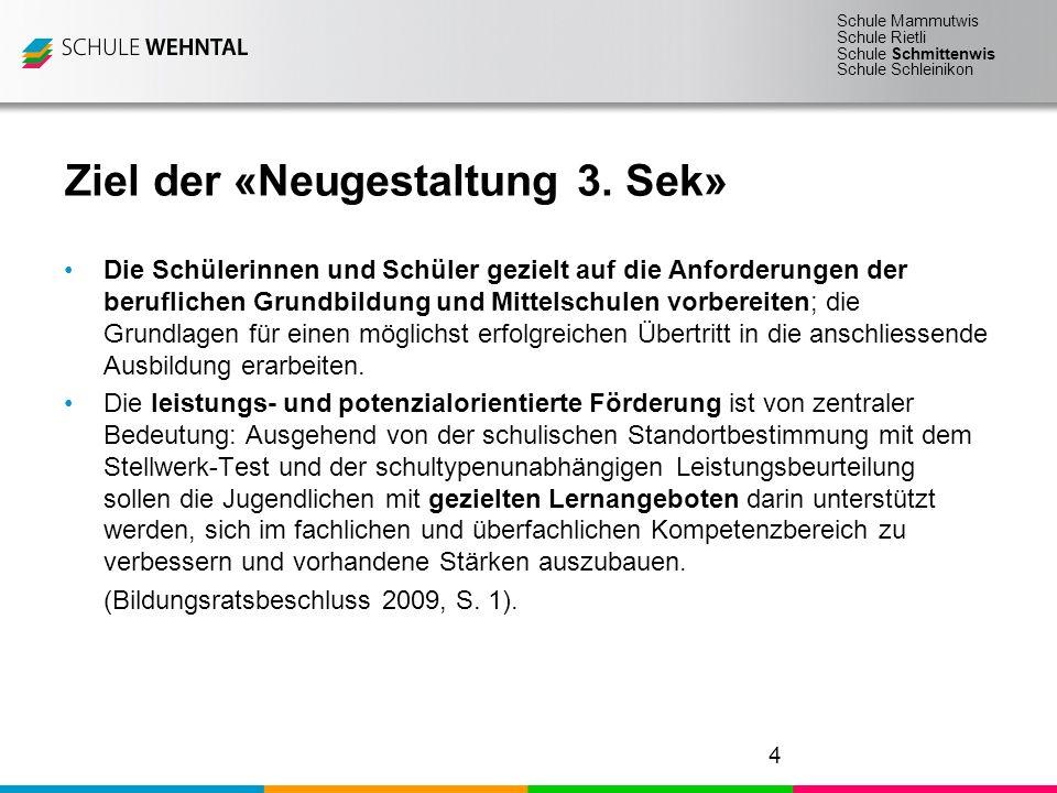 Schule Mammutwis Schule Rietli Schule Schmittenwis Schule Schleinikon Ziel der «Neugestaltung 3.