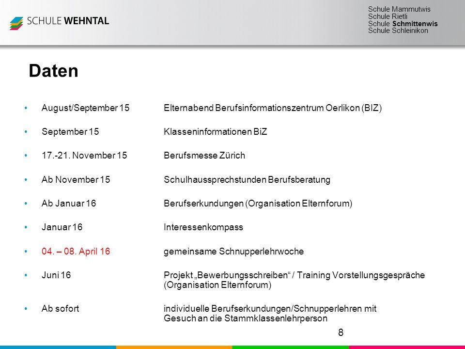 Schule Mammutwis Schule Rietli Schule Schmittenwis Schule Schleinikon Daten August/September 15Elternabend Berufsinformationszentrum Oerlikon (BIZ) September 15Klasseninformationen BiZ 17.-21.
