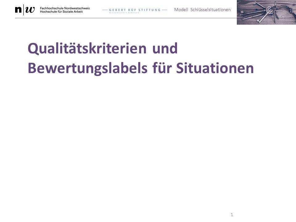 Modell Schlüsselsituationen Qualitätskriterien und Bewertungslabels für Situationen 1
