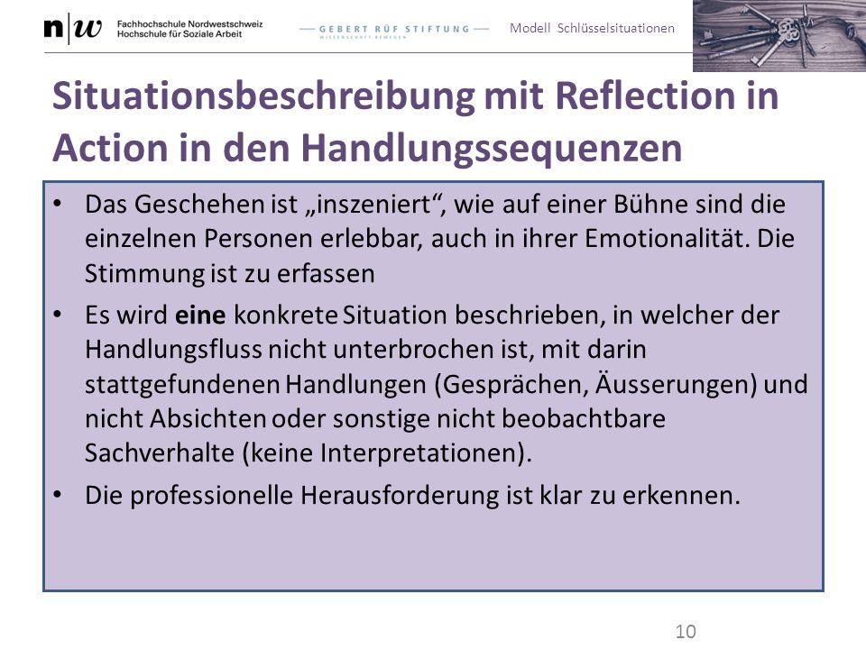 """Modell Schlüsselsituationen Situationsbeschreibung mit Reflection in Action in den Handlungssequenzen Das Geschehen ist """"inszeniert"""", wie auf einer Bü"""