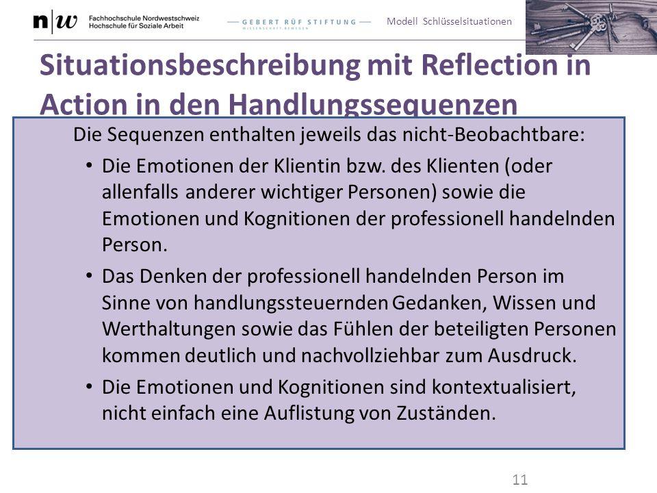 Modell Schlüsselsituationen Situationsbeschreibung mit Reflection in Action in den Handlungssequenzen Die Sequenzen enthalten jeweils das nicht-Beobac