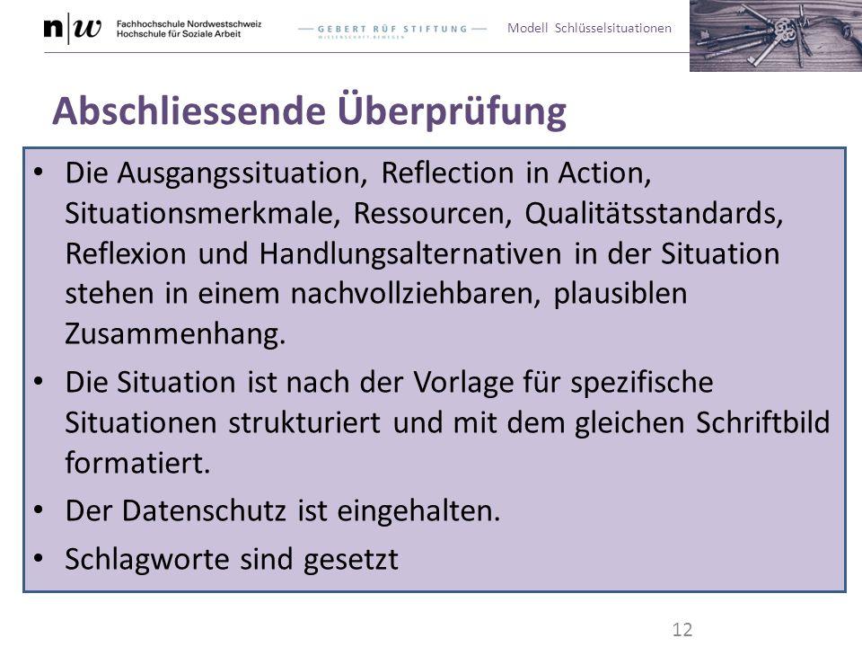 Modell Schlüsselsituationen Abschliessende Überprüfung Die Ausgangssituation, Reflection in Action, Situationsmerkmale, Ressourcen, Qualitätsstandards