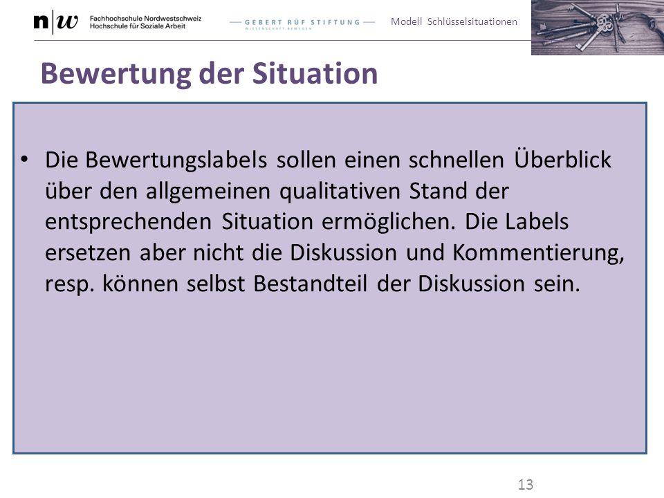 Modell Schlüsselsituationen Bewertung der Situation Die Bewertungslabels sollen einen schnellen Überblick über den allgemeinen qualitativen Stand der