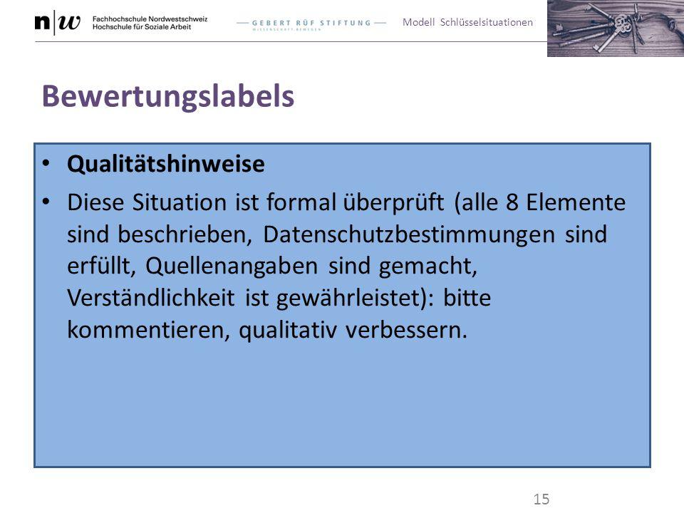 Modell Schlüsselsituationen Bewertungslabels Qualitätshinweise Diese Situation ist formal überprüft (alle 8 Elemente sind beschrieben, Datenschutzbest