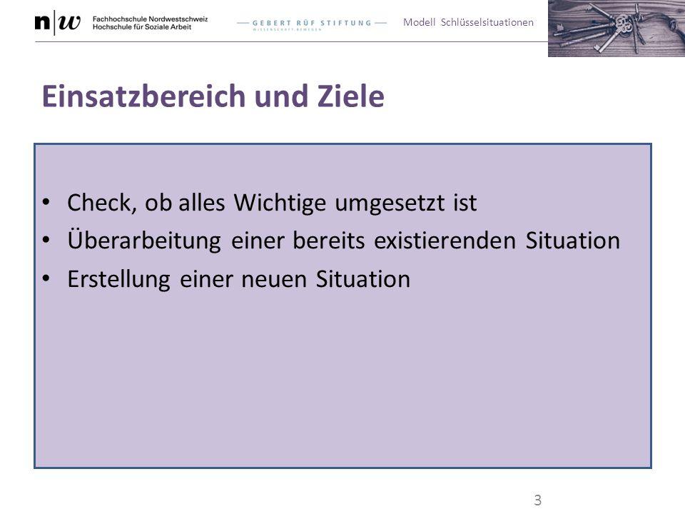Modell Schlüsselsituationen Bewertungslabels Überarbeiten: Die Situation oder einzelne Arbeitsschritte bedürfen der Überarbeitung.