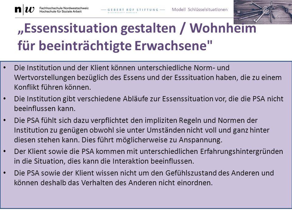 """Modell Schlüsselsituationen """"Essenssituation gestalten / Wohnheim für beeinträchtigte Erwachsene"""