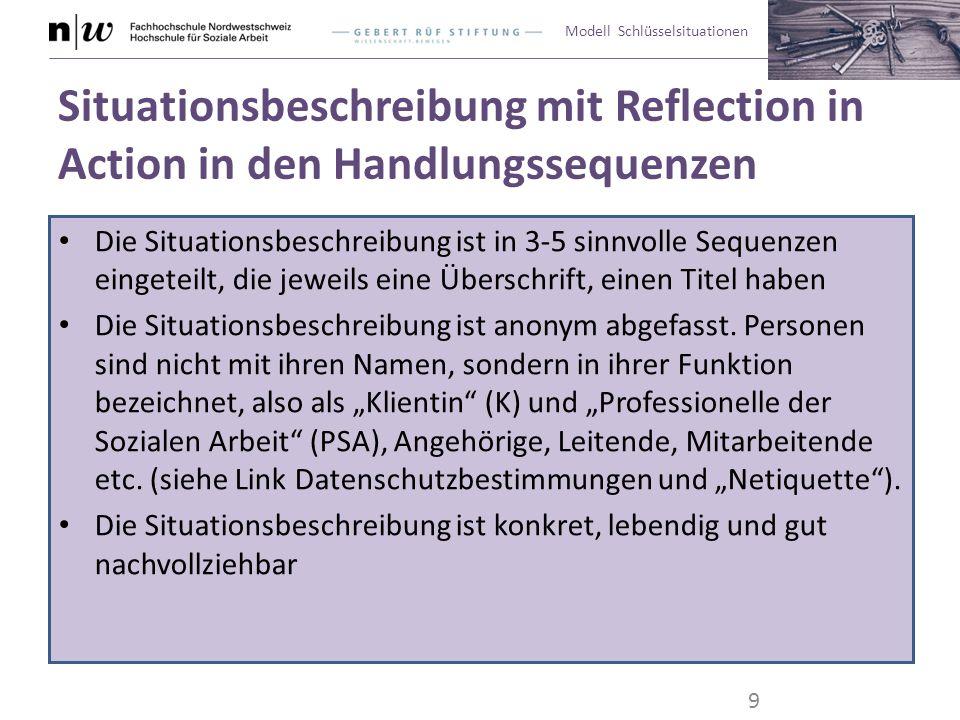 Modell Schlüsselsituationen Situationsbeschreibung mit Reflection in Action in den Handlungssequenzen Die Situationsbeschreibung ist in 3-5 sinnvolle