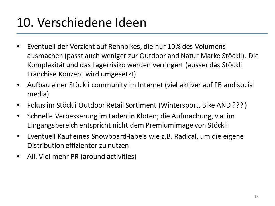 10. Verschiedene Ideen Eventuell der Verzicht auf Rennbikes, die nur 10% des Volumens ausmachen (passt auch weniger zur Outdoor and Natur Marke Stöckl