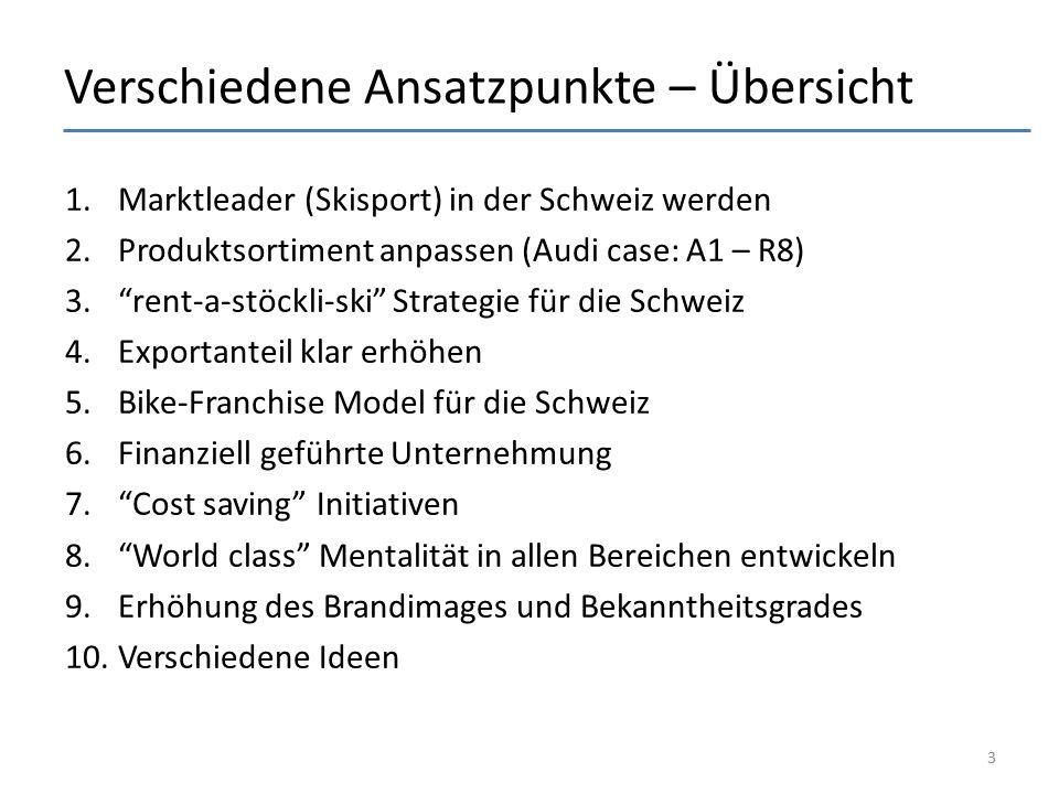 """Verschiedene Ansatzpunkte – Übersicht 1.Marktleader (Skisport) in der Schweiz werden 2.Produktsortiment anpassen (Audi case: A1 – R8) 3.""""rent-a-stöckl"""