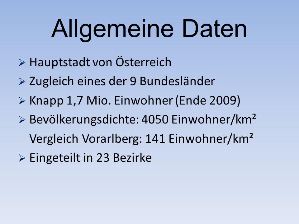 Allgemeine Daten  Hauptstadt von Österreich  Zugleich eines der 9 Bundesländer  Knapp 1,7 Mio.