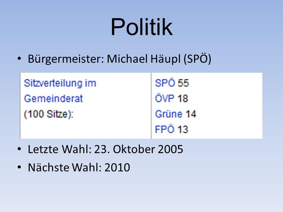 Politik Bürgermeister: Michael Häupl (SPÖ) Letzte Wahl: 23. Oktober 2005 Nächste Wahl: 2010
