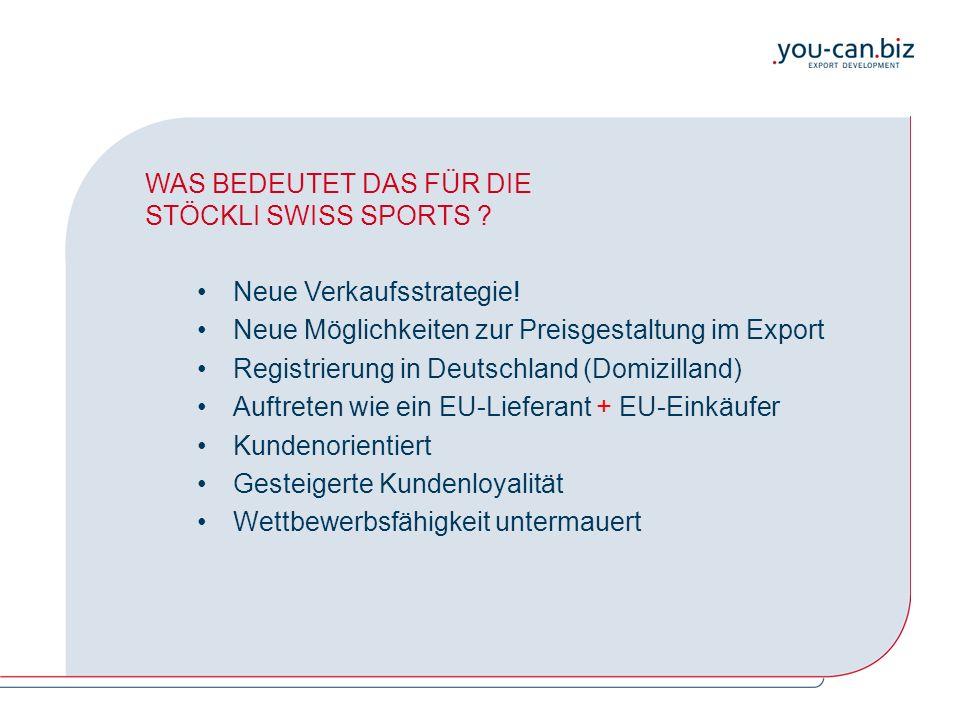 WAS BEDEUTET DAS FÜR DIE STÖCKLI SWISS SPORTS ? Neue Verkaufsstrategie! Neue Möglichkeiten zur Preisgestaltung im Export Registrierung in Deutschland