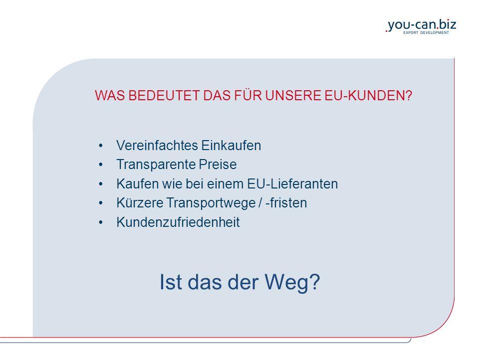 WAS BEDEUTET DAS FÜR UNSERE EU-KUNDEN? Vereinfachtes Einkaufen Transparente Preise Kaufen wie bei einem EU-Lieferanten Kürzere Transportwege / -friste