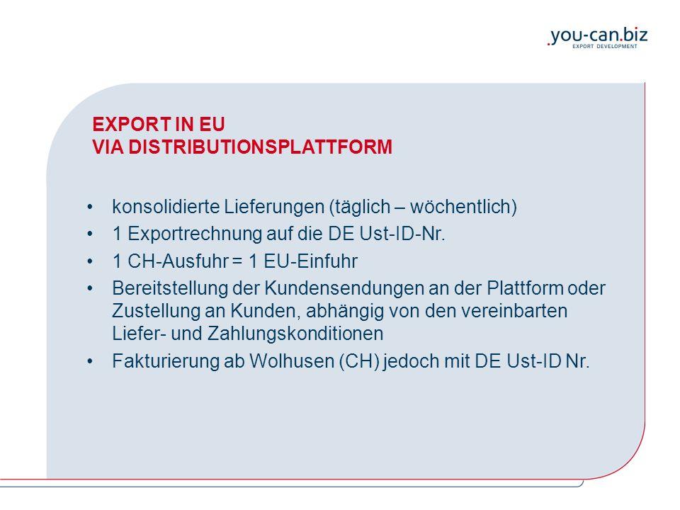EXPORT IN EU VIA DISTRIBUTIONSPLATTFORM konsolidierte Lieferungen (täglich – wöchentlich) 1 Exportrechnung auf die DE Ust-ID-Nr. 1 CH-Ausfuhr = 1 EU-E