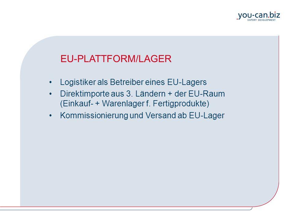 EU-PLATTFORM/LAGER Logistiker als Betreiber eines EU-Lagers Direktimporte aus 3. Ländern + der EU-Raum (Einkauf- + Warenlager f. Fertigprodukte) Kommi