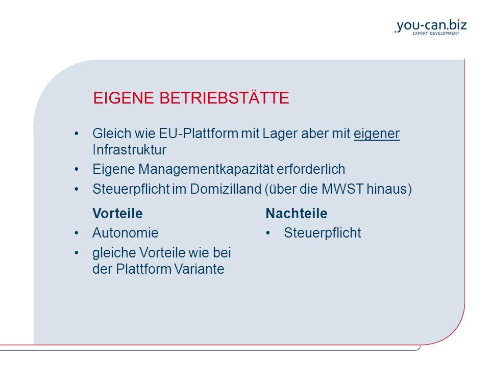EIGENE BETRIEBSTÄTTE Gleich wie EU-Plattform mit Lager aber mit eigener Infrastruktur Eigene Managementkapazität erforderlich Steuerpflicht im Domizilland (über die MWST hinaus) Vorteile Autonomie gleiche Vorteile wie bei der Plattform Variante Nachteile Steuerpflicht