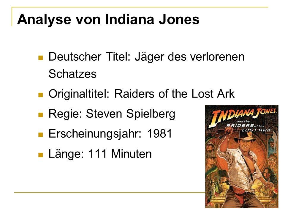 Analyse von Indiana Jones Deutscher Titel: Jäger des verlorenen Schatzes Originaltitel: Raiders of the Lost Ark Regie: Steven Spielberg Erscheinungsja