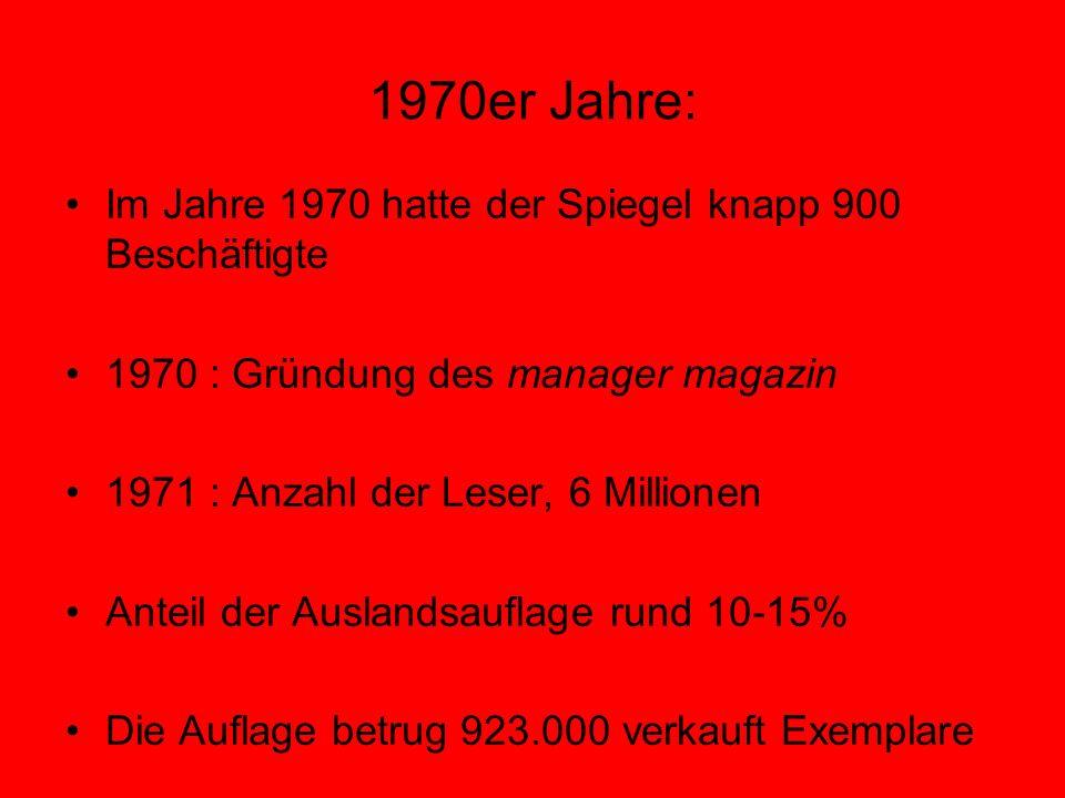 1970er Jahre: Im Jahre 1970 hatte der Spiegel knapp 900 Beschäftigte 1970 : Gründung des manager magazin 1971 : Anzahl der Leser, 6 Millionen Anteil d