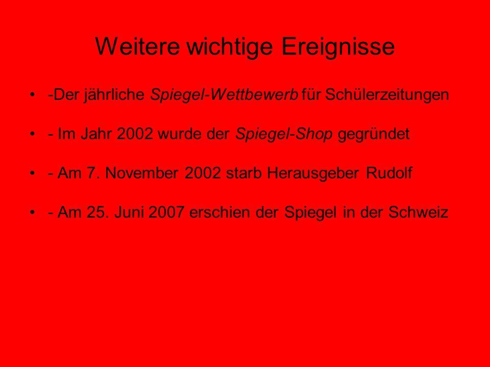 Weitere wichtige Ereignisse -Der jährliche Spiegel-Wettbewerb für Schülerzeitungen - Im Jahr 2002 wurde der Spiegel-Shop gegründet - Am 7. November 20