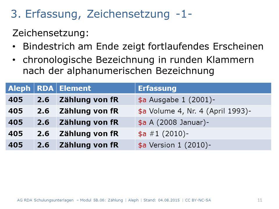 3. Erfassung, Zeichensetzung -1- Zeichensetzung: Bindestrich am Ende zeigt fortlaufendes Erscheinen chronologische Bezeichnung in runden Klammern nach