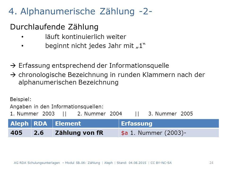 """4. Alphanumerische Zählung -2- Durchlaufende Zählung läuft kontinuierlich weiter beginnt nicht jedes Jahr mit """"1""""  Erfassung entsprechend der Informa"""