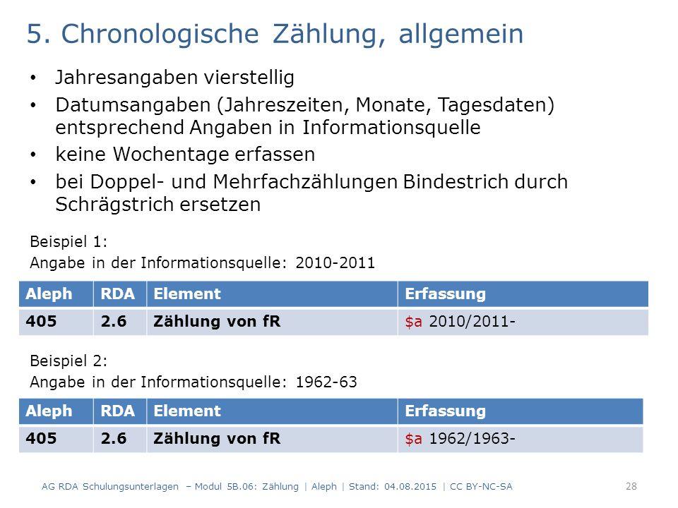 5. Chronologische Zählung, allgemein Jahresangaben vierstellig Datumsangaben (Jahreszeiten, Monate, Tagesdaten) entsprechend Angaben in Informationsqu