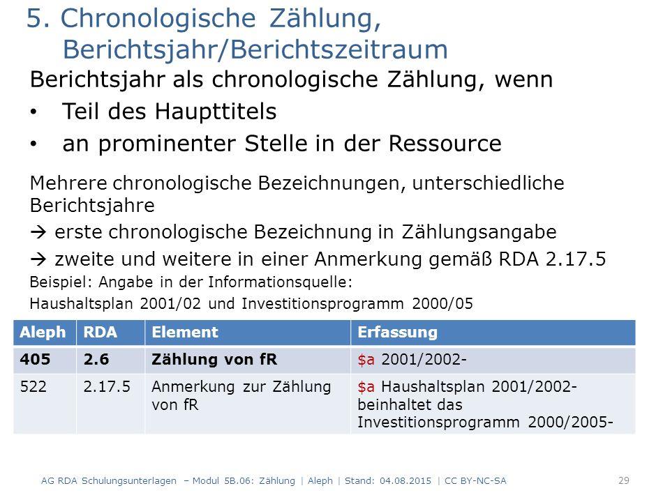 5. Chronologische Zählung, Berichtsjahr/Berichtszeitraum Berichtsjahr als chronologische Zählung, wenn Teil des Haupttitels an prominenter Stelle in d