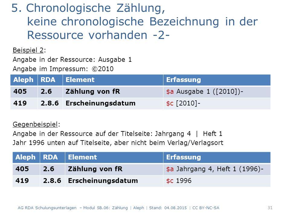 5. Chronologische Zählung, keine chronologische Bezeichnung in der Ressource vorhanden -2- Beispiel 2: Angabe in der Ressource: Ausgabe 1 Angabe im Im