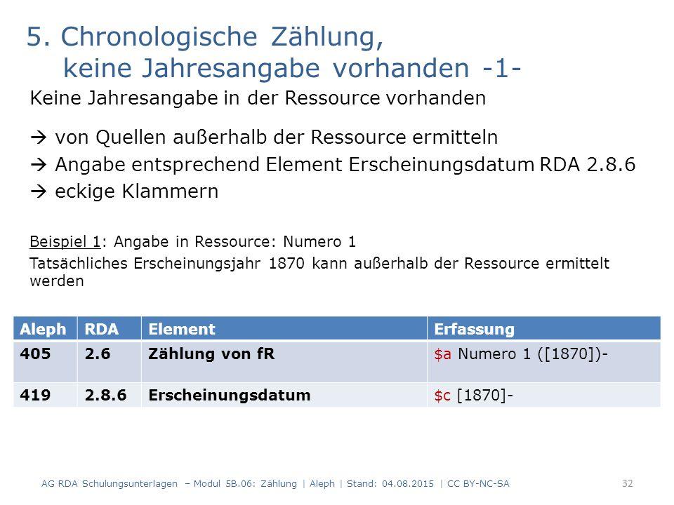 5. Chronologische Zählung, keine Jahresangabe vorhanden -1- Keine Jahresangabe in der Ressource vorhanden  von Quellen außerhalb der Ressource ermitt