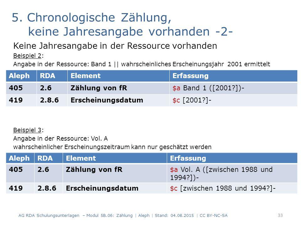 5. Chronologische Zählung, keine Jahresangabe vorhanden -2- Keine Jahresangabe in der Ressource vorhanden Beispiel 2: Angabe in der Ressource: Band 1