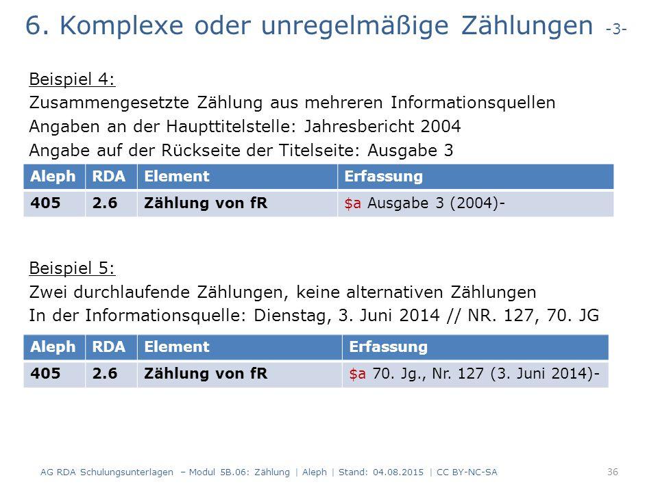 6. Komplexe oder unregelmäßige Zählungen -3- Beispiel 4: Zusammengesetzte Zählung aus mehreren Informationsquellen Angaben an der Haupttitelstelle: Ja