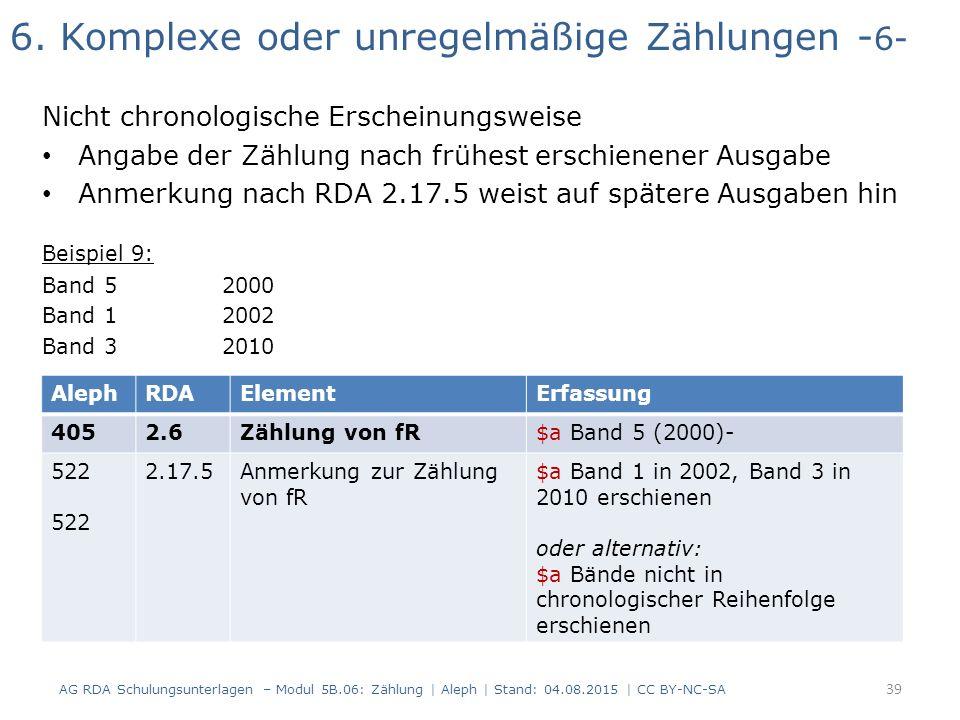 6. Komplexe oder unregelmäßige Zählungen - 6- Nicht chronologische Erscheinungsweise Angabe der Zählung nach frühest erschienener Ausgabe Anmerkung na