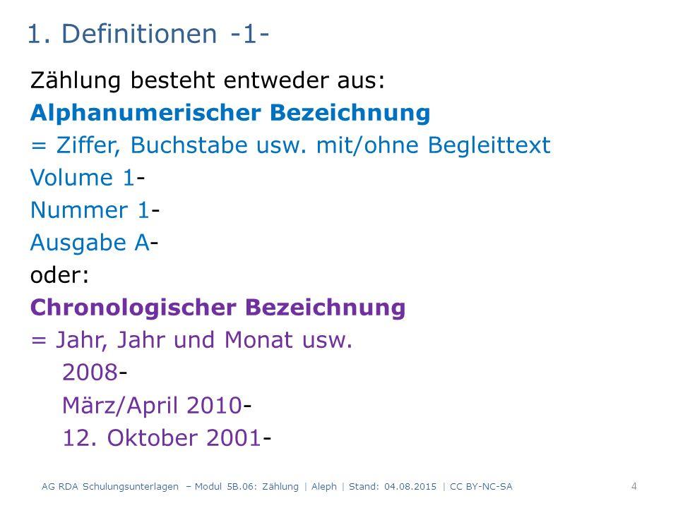 1. Definitionen -1- Zählung besteht entweder aus: Alphanumerischer Bezeichnung = Ziffer, Buchstabe usw. mit/ohne Begleittext Volume 1- Nummer 1- Ausga