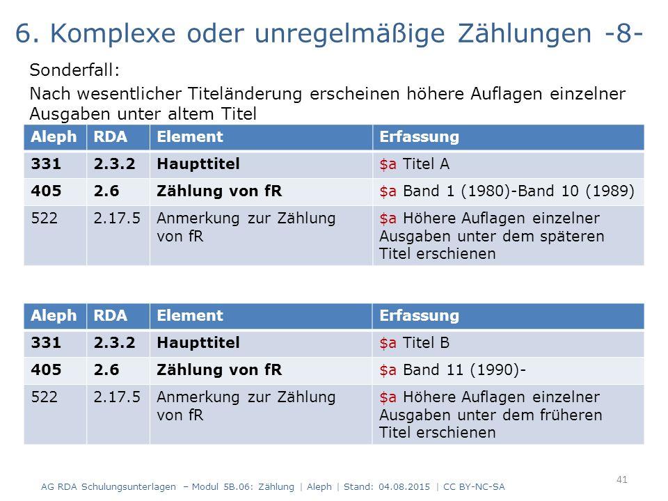 6. Komplexe oder unregelmäßige Zählungen -8- Sonderfall: Nach wesentlicher Titeländerung erscheinen höhere Auflagen einzelner Ausgaben unter altem Tit