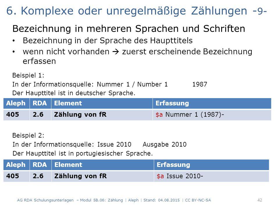 6. Komplexe oder unregelmäßige Zählungen - 9- Bezeichnung in mehreren Sprachen und Schriften Bezeichnung in der Sprache des Haupttitels wenn nicht vor