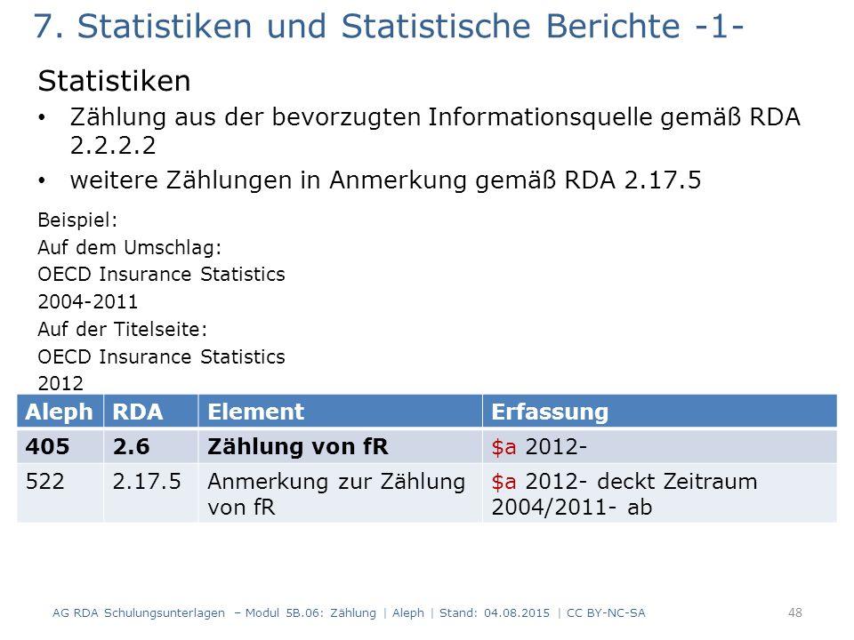 7. Statistiken und Statistische Berichte -1- Statistiken Zählung aus der bevorzugten Informationsquelle gemäß RDA 2.2.2.2 weitere Zählungen in Anmerku