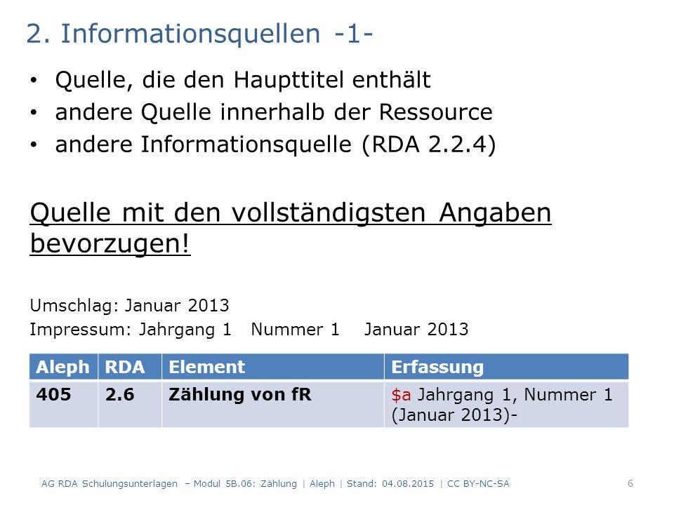 2. Informationsquellen -1- Quelle, die den Haupttitel enthält andere Quelle innerhalb der Ressource andere Informationsquelle (RDA 2.2.4) Quelle mit d
