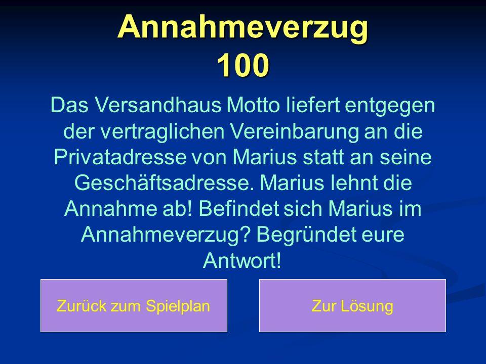 Annahmeverzug 100 Das Versandhaus Motto liefert entgegen der vertraglichen Vereinbarung an die Privatadresse von Marius statt an seine Geschäftsadress
