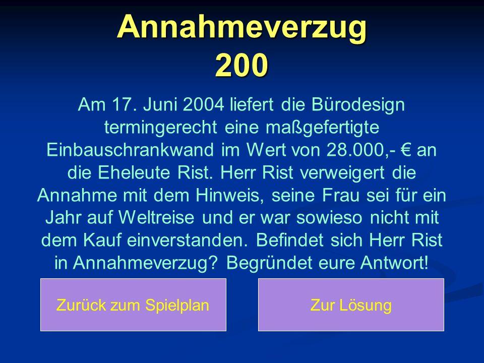 Annahmeverzug 200 Am 17. Juni 2004 liefert die Bürodesign termingerecht eine maßgefertigte Einbauschrankwand im Wert von 28.000,- € an die Eheleute Ri