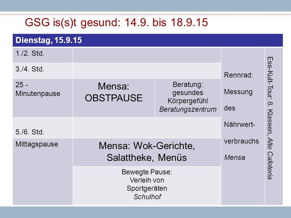 GSG is(s)t gesund: 14.9. bis 18.9.15 Dienstag, 15.9.15 1./2.