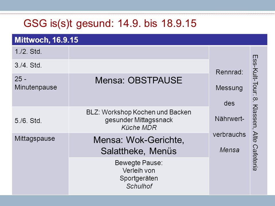GSG is(s)t gesund: 14.9. bis 18.9.15 Mittwoch, 16.9.15 1./2.