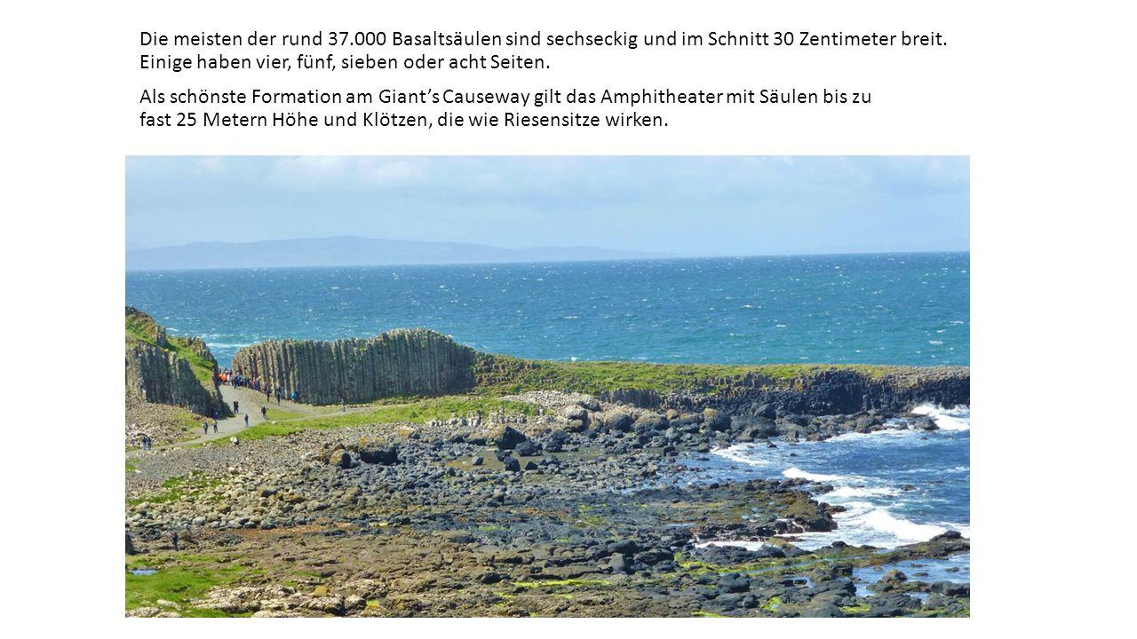 Die meisten der rund 37.000 Basaltsäulen sind sechseckig und im Schnitt 30 Zentimeter breit.