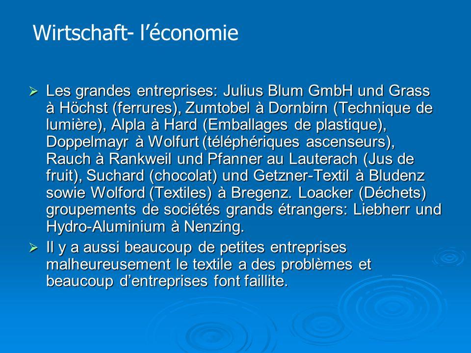  Les grandes entreprises: Julius Blum GmbH und Grass à Höchst (ferrures), Zumtobel à Dornbirn (Technique de lumière), Alpla à Hard (Emballages de plastique), Doppelmayr à Wolfurt (téléphériques ascenseurs), Rauch à Rankweil und Pfanner au Lauterach (Jus de fruit), Suchard (chocolat) und Getzner-Textil à Bludenz sowie Wolford (Textiles) à Bregenz.