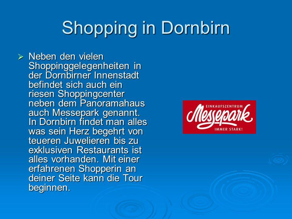 Shopping in Dornbirn  Neben den vielen Shoppinggelegenheiten in der Dornbirner Innenstadt befindet sich auch ein riesen Shoppingcenter neben dem Panoramahaus auch Messepark genannt.