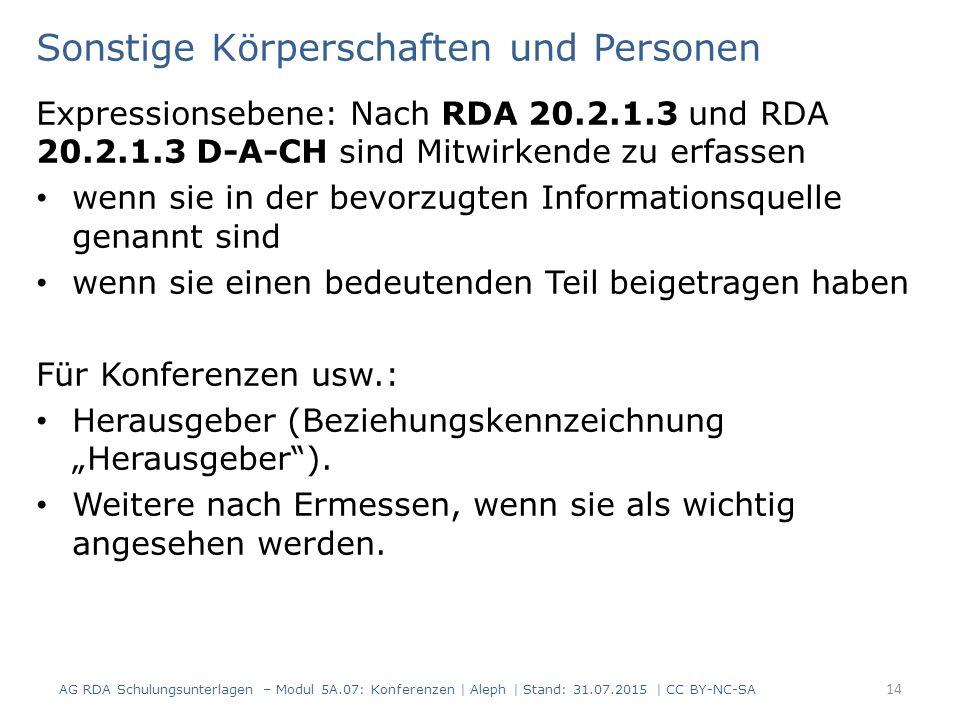 """Sonstige Körperschaften und Personen Expressionsebene: Nach RDA 20.2.1.3 und RDA 20.2.1.3 D-A-CH sind Mitwirkende zu erfassen wenn sie in der bevorzugten Informationsquelle genannt sind wenn sie einen bedeutenden Teil beigetragen haben Für Konferenzen usw.: Herausgeber (Beziehungskennzeichnung """"Herausgeber )."""