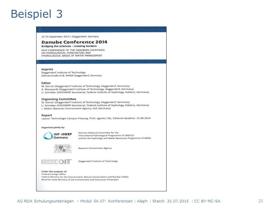 25 Beispiel 3 AG RDA Schulungsunterlagen – Modul 5A.07: Konferenzen | Aleph | Stand: 31.07.2015 | CC BY-NC-SA
